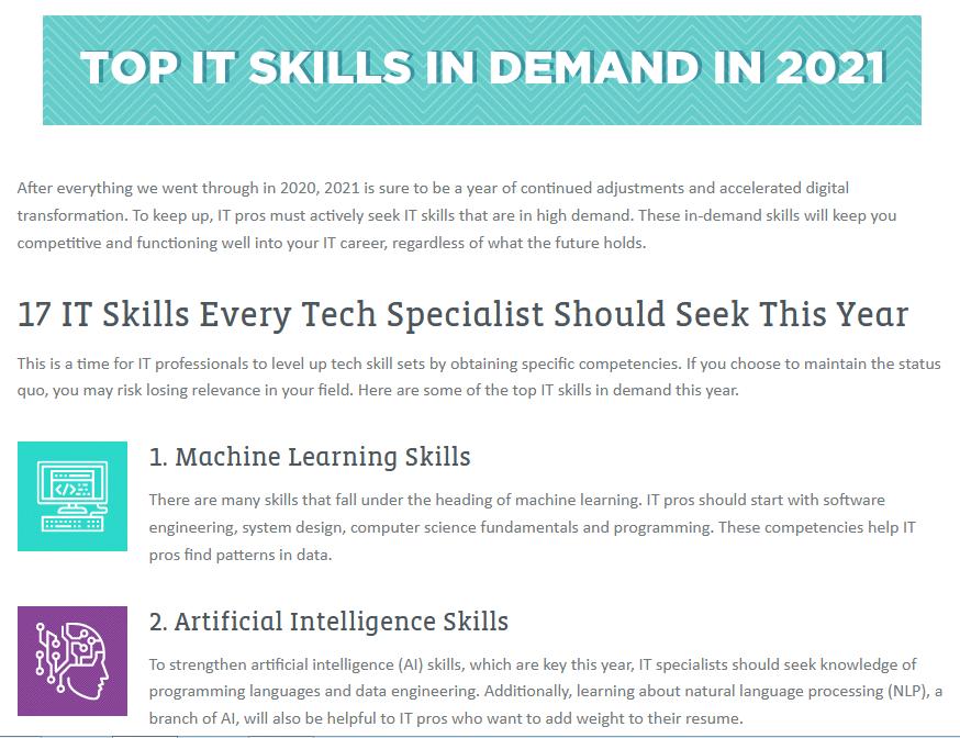 Top IT Skills 2021